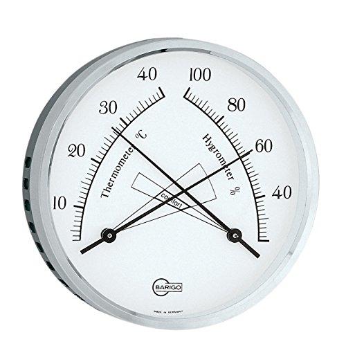 BARIGO Thermo- / Hygrometer mit Comfortzonenbereich, Ø 100mm, Messing, schwarz/silber