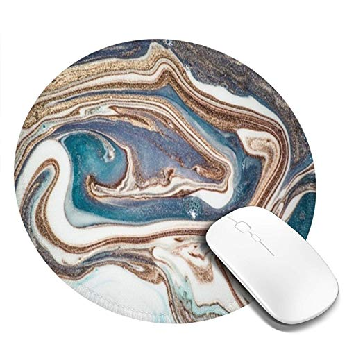 Modern Abstract Marble Dark Blue Gold Powder Mouse Pad with Stitched Edge Waterproof Premium-Textured Mouse Mat Non-Slip Rubber Base Round Mousepad for Laptop Computer Office Gaming 7.9 x 7.9 inch