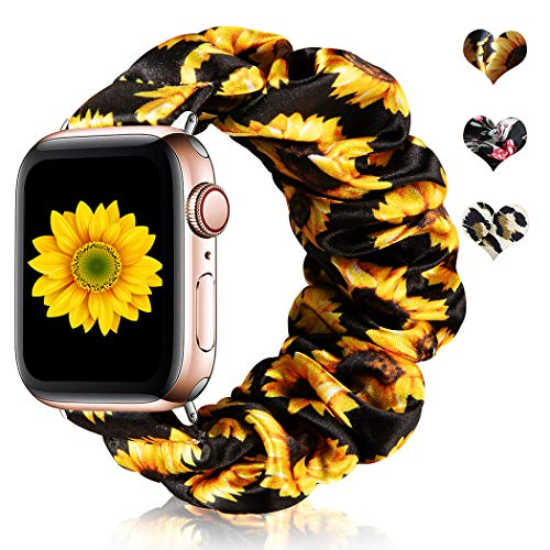CreateGreat Scrunchie Elastic Watch Band Compatible for Apple Watch 38mm/40mm, Sunflower Soft and Fashion Elastic Straps for iWatch Series 5 4 3 2 1-Medium