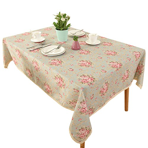 Vintage Flower Decorative 55 x102 Rectangle Linen Tablecloth by HIGHFLY - Printed Pattern Washable Table Cloth Dinner Kichen Home Decor - Multi Colors & Sizes
