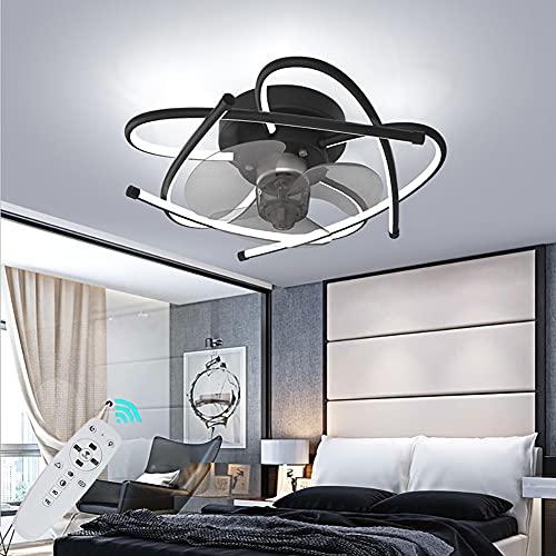 Ventiladores de Techo Modernos LED Lámpara de Techo Regulable con Control Remoto para Dormitorio salón 50W Silencioso Fan Iluminación de Techo, 3 velocidades, Decoración De Interiores Ø58CM