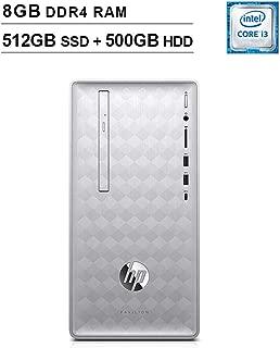 HP 2019 Pavilion 590 Desktop (Intel Quad Core i3-8100 3.6 GHz, 8GB DDR4 RAM, 512GB SSD (Boot) + 500GB HDD SSD, Intel UHD Graphics 630, Bluetooth, HDMI, DVD, Windows 10 Home) (Renewed)