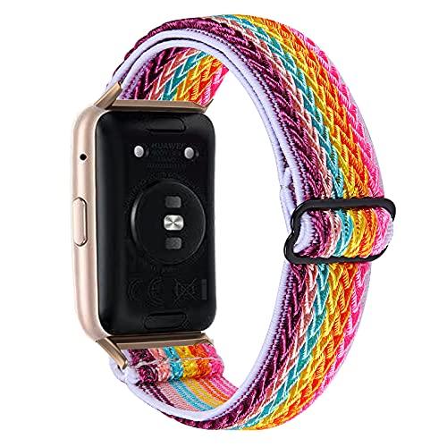 Krudary Correa de reloj de nailon elástica compatible con Huawei Fit, ajustable, transpirable, suave y elástica, para Huawei Fit.,