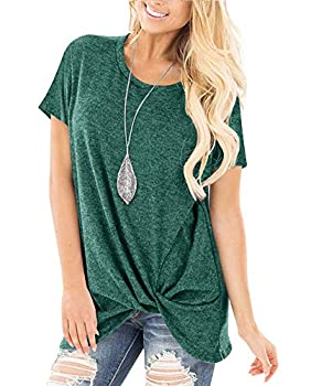 Yidarton Women s Comfy Short Sleeve Twist Knot Tops Blouses T Shirts Green