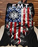 Personalized Vintage Smoke American Flag Proud to Be EMT Blanket, Gift for Flag Lover