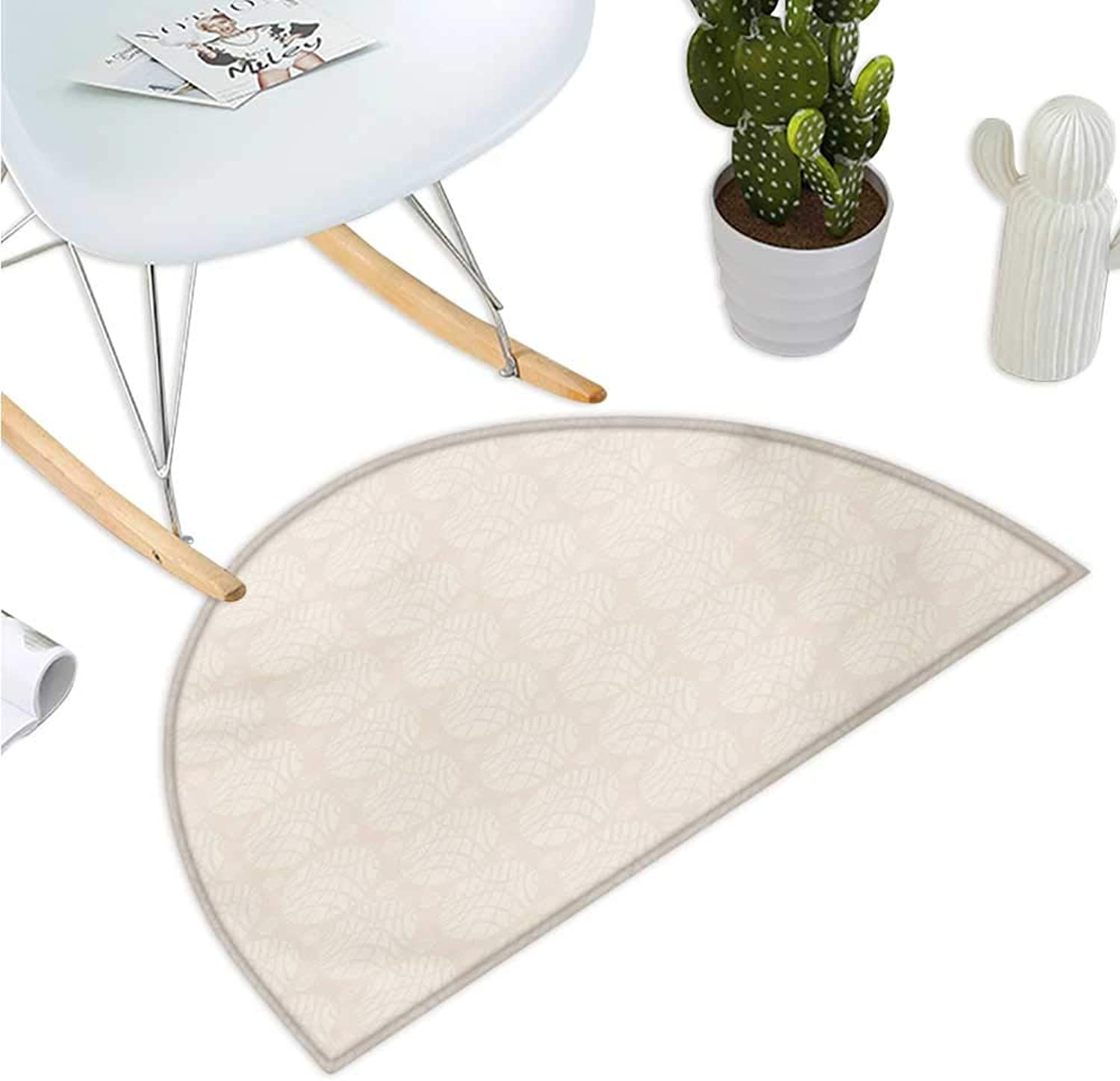 Ivory Half Round Door mats Abstract Soft Pastel colord Circular Round Shapes Pattern Simplistic and Artful Design Bathroom Mat H 35.4  xD 53.1  Cream