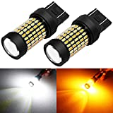 Phinlion Super Bright White Amber Dual Color Switchback 7443 7443na 7444 7444na LED Bulbs with Projector for Car Parking Turn Signal Lights