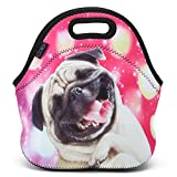 Soft Boys Girls Waterproof Insulated Neoprene Lunch Container School Office Travel Outdoor Work Lunch Bag Tote Cooler Lunch Box Handbag Food Storage Carrying Bag (Happy Pug)HST-LB-054 travel cooler Nov, 2020