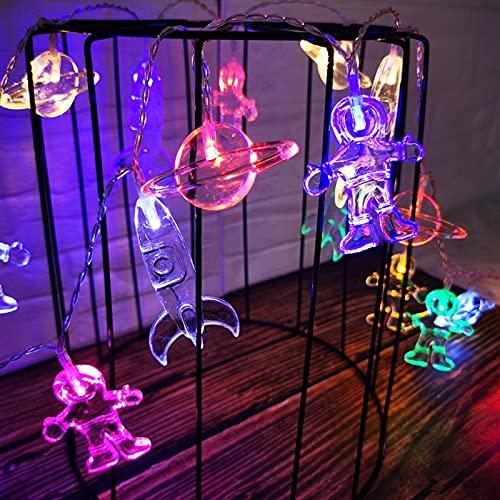 Mtawou - Cadena de luces LED para Navidad, nave espacial, resistente al agua, decorativa, funciona con pilas, astronauta decorativa, luces para habitación, fiesta, jardín