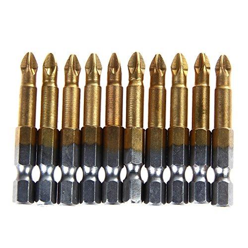 DIU# S2 staal 10 x Anti Slip Elektrische Schroevendraaier Bits Enkele Zijkant Magnetische Hex Shank PH2 50mm