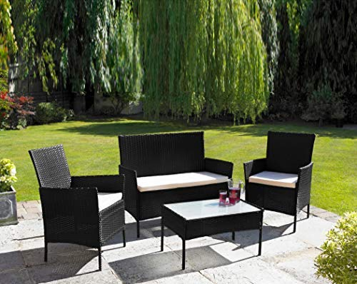 Neo 4 Piece Rattan Outdoor Furniture Sofa Table Chair Set Garden Patio Conservatory Available in Black or Grey (Black)