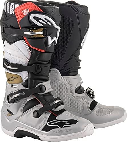 Alpinestars 2012014-1829-11 Unisex-Adult Tech 7 Boots Black/Silver/White/Gold Sz 11 (Multi, one_size)