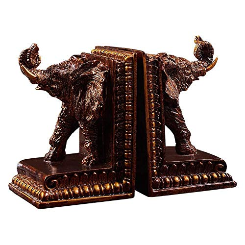 ZWJ-Bookends Shelf Book Book Ends Bookends for Shelves Bookends Elephant Resin Book Shelf Ends Simple Style Non-Slip Heavy Bookends for Library School Office Or Home Study Decorative