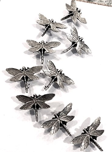 Dragonfly Decorative Push Pins, Extra Large, 9 Pieces, Silver T-510AS