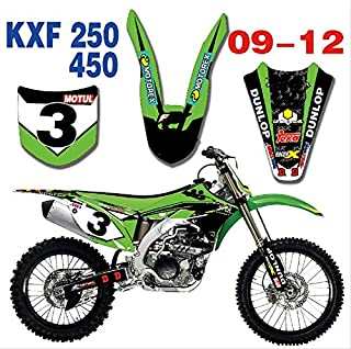 Motorcycle TEAM GRAPHICS & BACKGROUNDS DECALS STICKERS Kits for Kawasaki KX250F KXF250 KXF450 KXF 250 450 2009 2010 2011 2012 (As shown)
