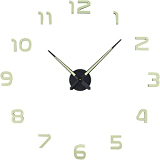 Frameless Clock, Large 3D DIY Wall Clocks with Silent Non-Ticking Glowing Function Decoration, for Living Room, Bedroom, O...
