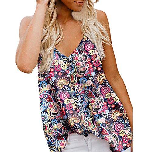 Proumy Camiseta de Tirantes Mujer Camisa Floral Blusas Estampada de Flores Ropa Cuello con Botón V sin Manga Chaleco Sexy Tank Top Elegante de Talla Grande Camisa Casual Vestido Elástico Verano