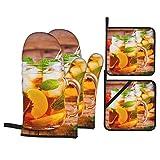 Ofenhandschuh und Topflappen 4er-Set,Pfirsich Eistee Einmachglas Minze,Hitzebeständige...