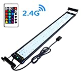 COODIA Aquarium Hood Lighting Color Changing Remote Controlled Dimmable RGBW LED Light for Aquarium/Fish Tank, Extendable (for Fresh and Salt Water) (28-36inch)