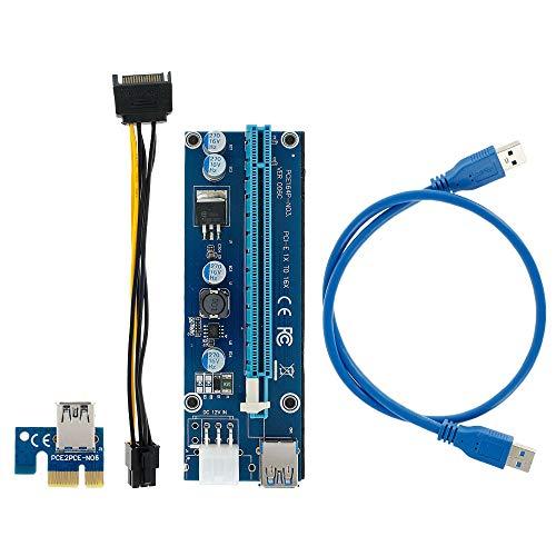 Keyohome 6-polige PCI-E 1X auf 16X Enhanced Powered Riser Adapter Karte mit USB Verlängerungskabel GPU Grafikkarte Krypto Währung Minin (1 Stück)