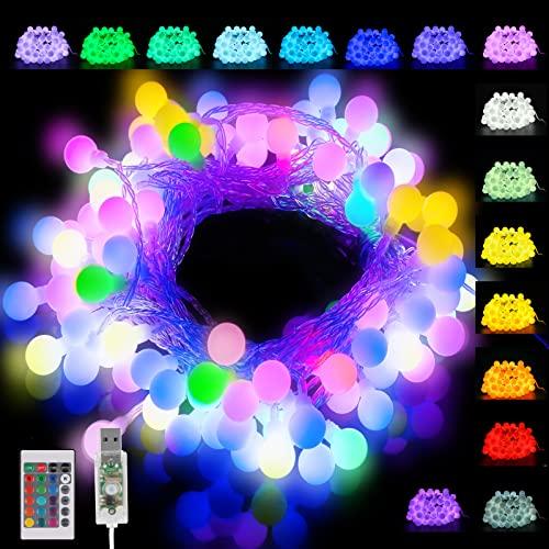 50er LED Kugel Lichterkette Bunt, 16 Farben USB Lichterkette Außen mit Fernbedienung, Wasserdichte IP65 Farbwechsel Lichterkette Innen Partylichterkette für Zimmer, Weihnachten, Party Deko, Hochzeit