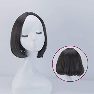 Bob Wig Fluffy Short Curly Hair for Daily Cosplay Wig Women's Short Hair,Hairpieces (Color : Black)