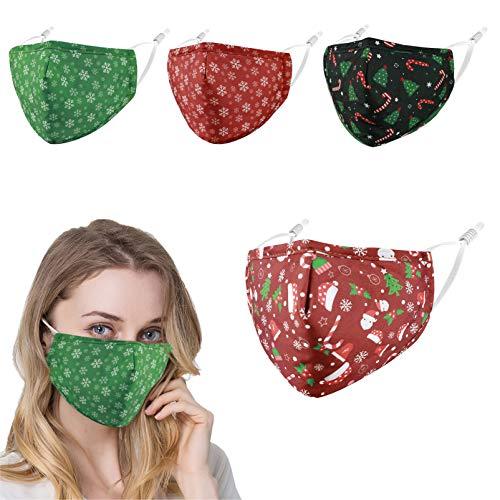 Cotton Fashion Face Mask Reusable for Women Christmas Adult Earloop Nose Cover Designer Cloth Fabric Merry Christmas Xmas Saints Holiday Feliz Navidad Cubre BocasMascarillas Protection madks