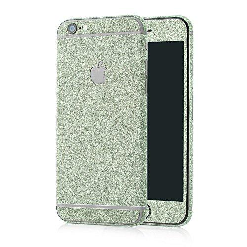 MC24 Glamour Skin Glitzerfolie für Apple iPhone 6 / 6s in grün - Diamond Shine Klebefolie für die Vorder- und Rückseite