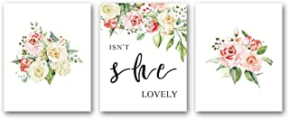 """HPNIUB Abstract Floral Art Print Pretty Botanical Wall Art Painting Set of 3 (10""""X8""""Canvas Flowers Leaf&Funny Words Poster for Office or Living Room Home Decor,No Frame"""