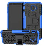 Yiakeng Funda Galaxy J6 Plus,Galaxy J4 Plus Carcasa, Silicona a Prueba de Choques Soltar Protector con Kickstand Case para Samsung Galaxy J6/J4 Plus (Azul)