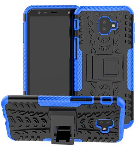 Yiakeng Samsung J6 Plus Cover, Galaxy J6+ Cover, Doppio Strato Silicone Antiurto Far Cadere Protezione con Kickstand Custodia per Samsung Galaxy J6 Plus (Blu)
