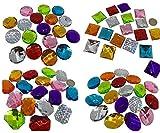 Crystal King - Grandi Pietre brillanti decorative autoadesive, da 4 a 3 cm, colorate, rotonde, pietre mosaico, per bricolage, acriliche, strass, trasparenti