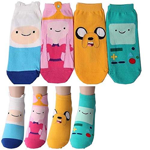 Adventure Time – Abenteuerzeit mit Finn und Jake Charakter Sneakersocken 4 Paaren - Finn, Jake, Prinzessin Bubblegum, Beemo Knöchel Socken