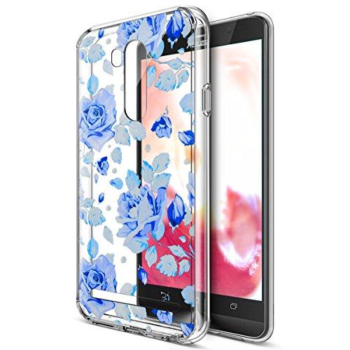 Kompatibel mit Asus Zenfone Go TV Hülle,Bunte Gemalte Mandala Blumen Transparent TPU Silikon Handyhülle Tasche Hülle Durchsichtig Schutzhülle für Asus Zenfone Go TV ZB551KL (5,5 Zoll),Blaue Rose Blumen