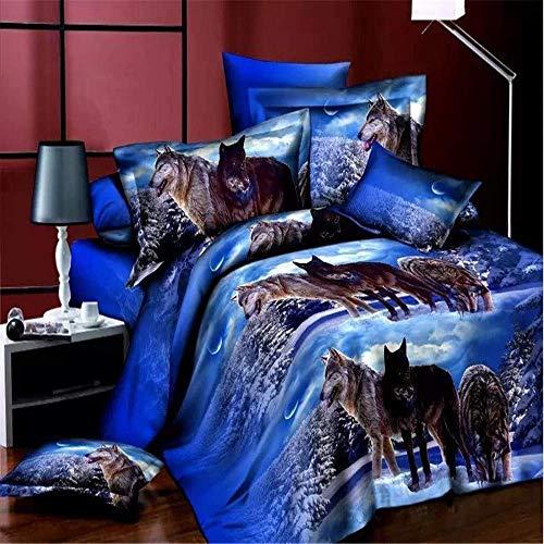 772 AQL Parure de lit avec Housse de Couette Imprimé Animal Effet Loup 3D Housse de Couette Taie d'oreiller Parure de lit (Un Groupe de Loups, 140x200cm)