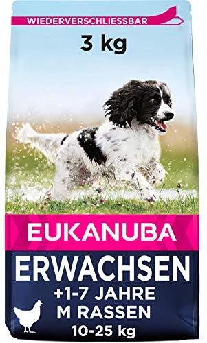 Eukanuba Hundefutter mit frischem Huhn für mittelgroße Rassen, Premium Trockenfutter für ausgewachsene Hunde, 3 kg