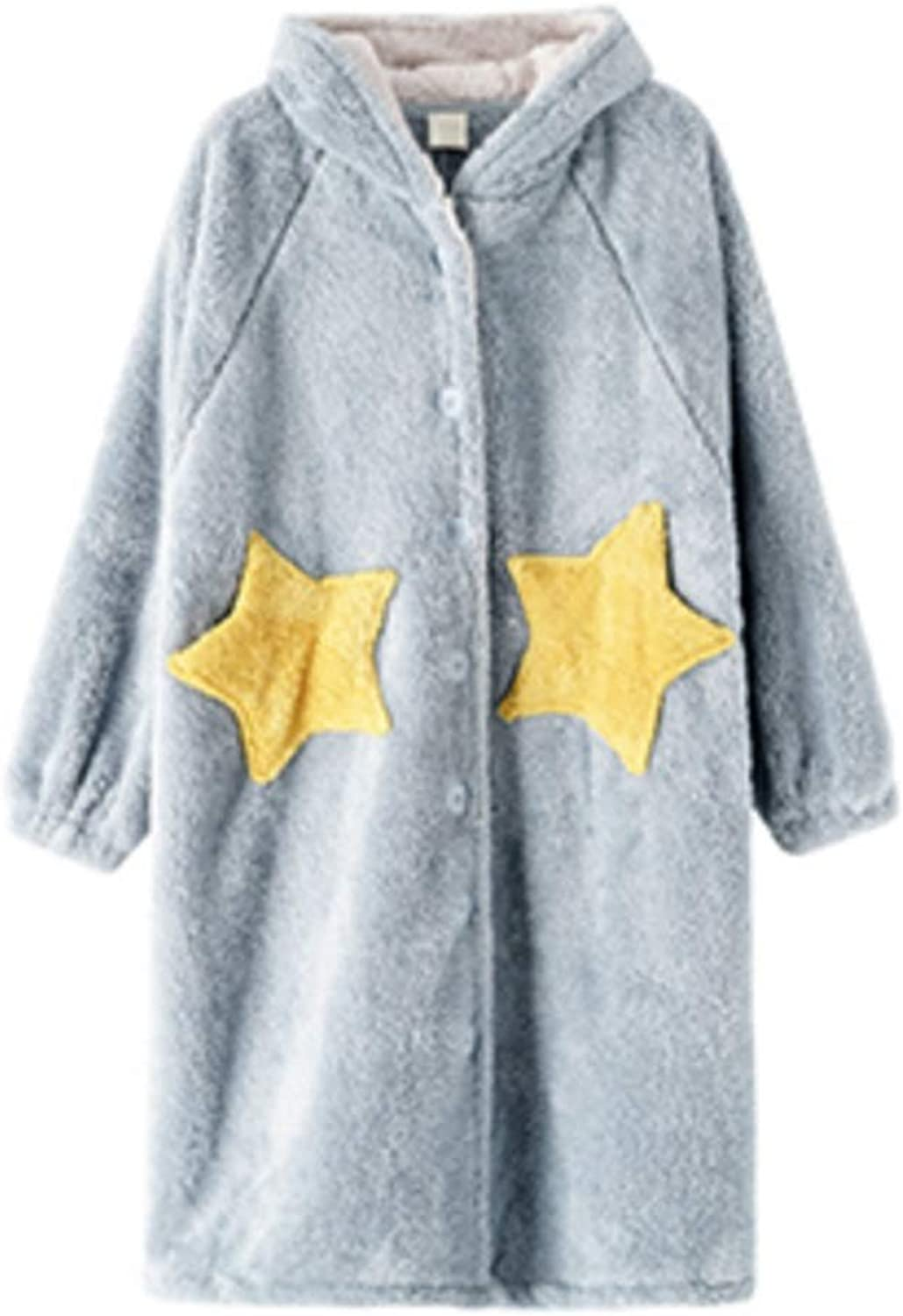 NAN Liang Womens Luxury Soft Cotton Bath Robe Housecoat Dressing Gown Bathrobe Knee Length 4 Soft (color   bluee, Size   M)