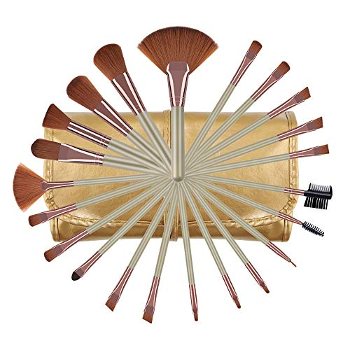 Makeup Brushes Set, Essential Make Up Brush for Blush Fan Powder Highlight Eyeshadow Gold Beauty Tools Kits with Case
