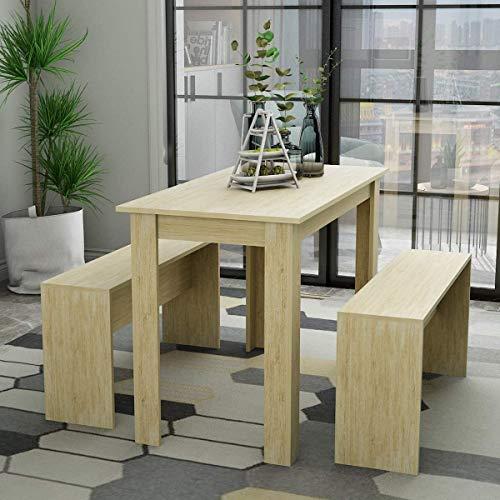 Muebles de madera mesa de comedor con dos bancos, mesa de la cocina y dos trajes de sillas,Wood color