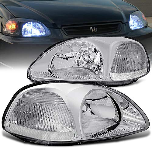 AJP Distributors For Honda Civic Coupe Sedan 2 3 4 Door Hatchback EK Headlight Head Light Lamp Upgrade Replacement Pair Left Right 1996 1997 1998 96 97 98 (Chrome Housing Clear Lens Clear Reflector)