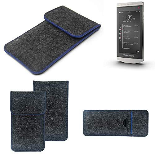 K-S-Trade® Filz Schutz Hülle Für BlackBerry Porsche Design P9982 Schutzhülle Filztasche Pouch Tasche Case Sleeve Handyhülle Filzhülle Dunkelgrau, Blauer Rand