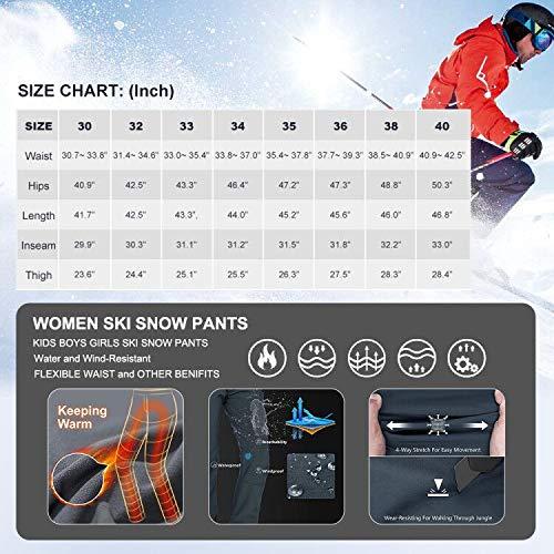 mosingle Waterproof Trousers Mens Snow Ski Winter Softshell Windproof Fleece Lined Outdoor Fishing Walking Hiking…