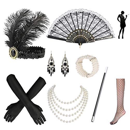 Nabance 20er Jahre Accessoires Gatsby Accessoires 1920s Kostüm Damen Flapper Accessoires Set 20er Jahre Zubehör Set Retro Style Stirnband Set-8 Stück