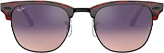 RB3016F Clubmaster Square Asian Fit Sunglasses, Top Transparent Red On Havana/Pink Gradient Violet, 55 mm