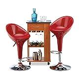 Relaxdays Barhocker 2er Set, höhenverstellbar, drehbar, bis 120 kg, mit Lehne, Barstuhl, HxBxT: 101 x 45 x 40 cm, rot