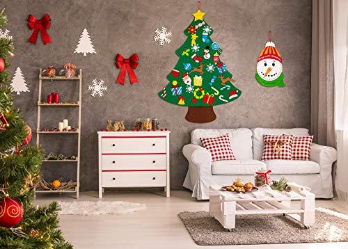 jollylife 3ft DIY Felt Christmas Tree Set Plus Snowman Advent Calendar - Xmas Decorations Wall Hanging 33 Ornaments Kids Gifts Party Supplies