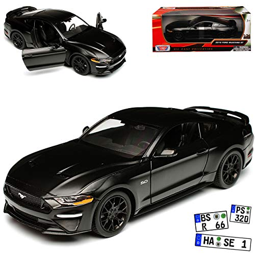 Motormax Ford Mustang VI Coupe Matt Schwarz Modell Ab 2014 Version ab Facelift 2017 1/24 Modell Auto