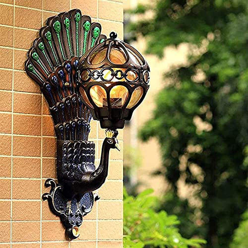 ASDF Lámpara de Pared para Exteriores/Interiores, Aplique de Pared con Forma de Pavo Real Colorido a Prueba de Agua con Accesorio de Pantalla de Esfera, Porche, Patio