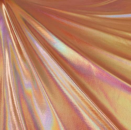 FabricLA Metallic Foil Lame Spandex Knit Fabric (Rose Gold Hologram, 2 Yards)