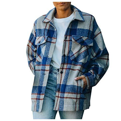 Frauen Mantel Casual Woolen Plaid Jacke Turndown Kragen Knopf Knopf Tasche Langarm Loose Tops Bluse (XL,Blau)